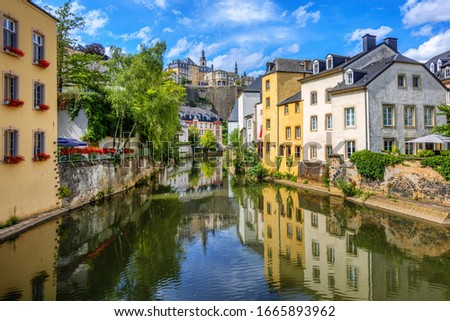 Luxembourg city, the capital of Grand Duchy of Luxembourg, view of the Ctiy center, Old Town, Grund quarter and Alzette river on a sunny summer day Stock photo ©