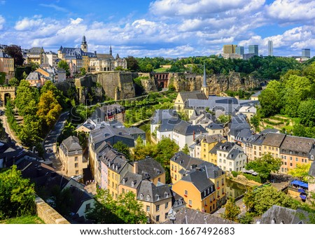 Luxembourg city, the capital of Grand Duchy of Luxembourg, view of the Old Town and Grund quarter on a sunny summer day Stock photo ©