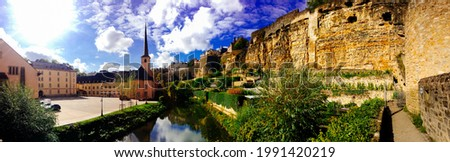 Luxembourg Grund monastery and river Stock photo ©