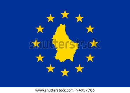Luxembourg map on on European Union flag with yellow stars.