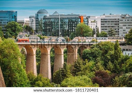 Luxembourg. Old Bridge - Passerelle Bridge Or Luxembourg Viaduct In Luxembourg. Stock photo ©
