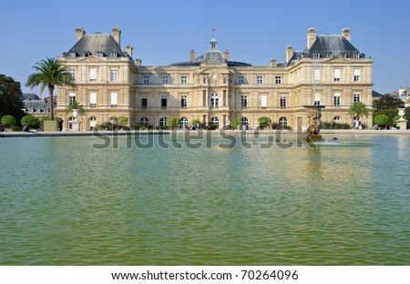 Luxembourg Palace and garden in Paris