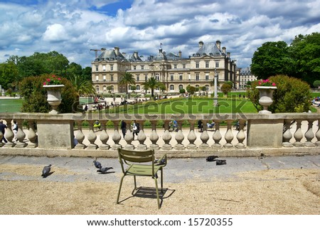 Luxembourg Palace and Garden in Paris. At the moment Senate of France.