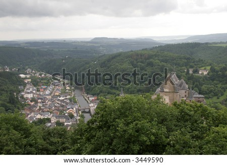 Luxembourg town of Vianden with castle on the hill