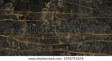 Luxirious Dark Marble with Golden veins. Black stone background for interior decoration. Ceramic Tile pattern.