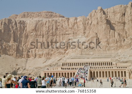 LUXOR, EGYPT - NOV 20: Tourists visit the Temple of Hatshepsut on November 20, 2010, in the Valley of the Kings, near Luxor, Egypt.  Hatshepsut ruled for 15 years, until her death in 1458 BC.