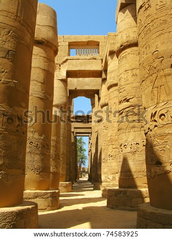 Luxor: Magnificent columns of the Great Hypostyle Hall at the Temples of Karnak (ancient Thebes). Luxor, Egypt