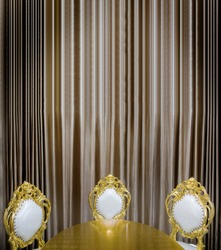 luxuary golden table and seat decoration in dining room - use for background