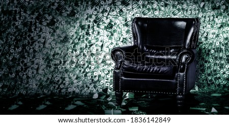 luxuary leather sofa seat on money in rich concept for background Foto stock ©
