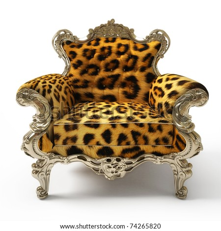 Luxurious armchair with leopard fur, isolated on white background