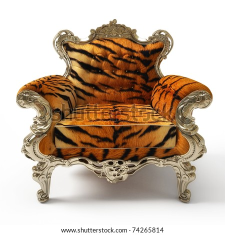 Luxurious armchair with tiger fur, isolated on white background