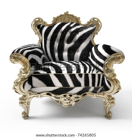 Luxurious armchair with zebra fur, isolated on white background