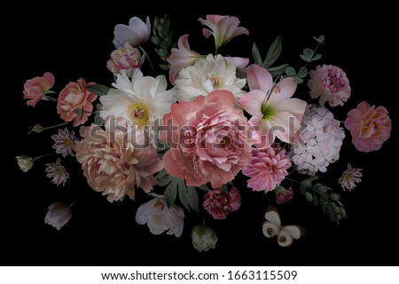 Luxurious baroque bouquet. Beautiful garden flowers, leaves and butterfly on black background. Pink and white peonies, roses, tulips. Luxury design. Vintage illustration. Floral decoration.