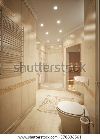 Luxurious Bathroom Interior Design In Classic Style With Beige Tiles Gold  Decor And Sauna. 3d