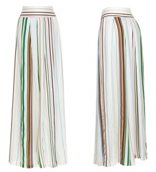 Luxurious beautiful female striped colored loose pants, front and back view, clipping, ghost mannequin, isolated on white background