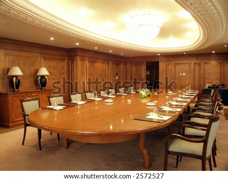 Luxurious boardroom ready for business meeting