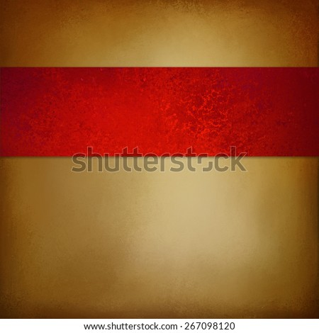 luxurious brown gold background with rich red ribbon design and vintage distressed texture with brown burnt edges