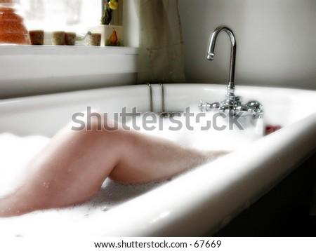 Luxurious bubble bath - stock photo