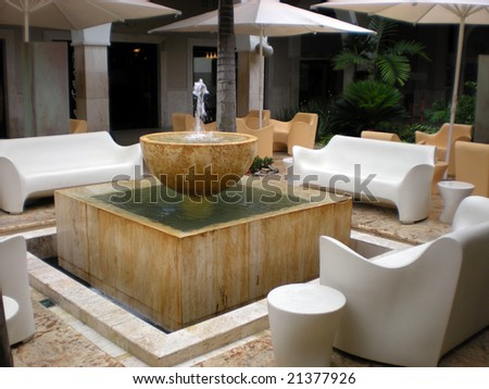 Luxurious Contemporary Patio With Fountain Stock Photo 21377926 ...