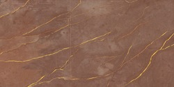 Luxurious Dark Brown Agate Marble texture with Golden veins. Polished Quartz Stone Background Striped by nature with a unique patterning, dark concentric bands. It can be used for ceramic tile surface