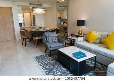 Luxurious furnished living room in studio flat. Modern home interior of studio apartment with combined kitchen and living room. Coziness concept