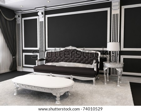 Luxurious furniture in royal interior od apartment