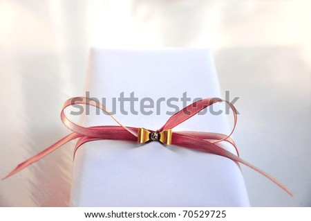 Luxurious Gift Box with pink knot - stock photo