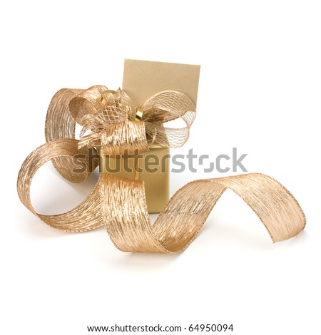 Luxurious gift with note isolated on white background