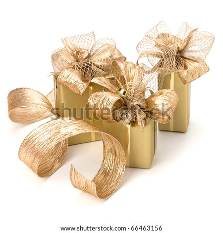 Luxurious gifts isolated on white background