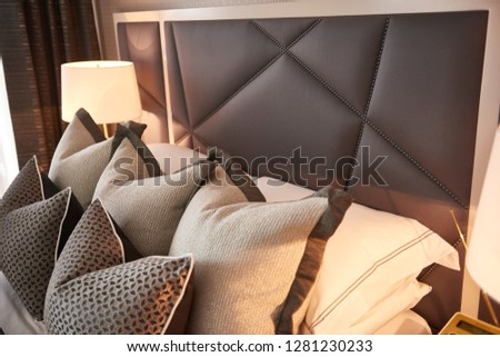 luxurious headboard in bedroom #1281230233