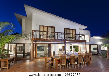 Luxurious Home With Outdoor Entertaining Area Stock Photo ...