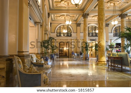 luxurious hotel  lobby interior - stock photo