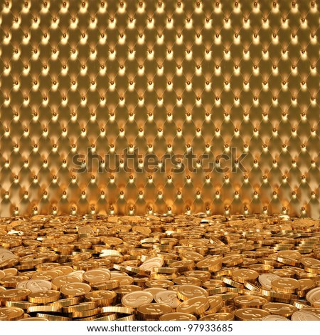 Luxurious Interior With A Golden Leather On The Wall And ...