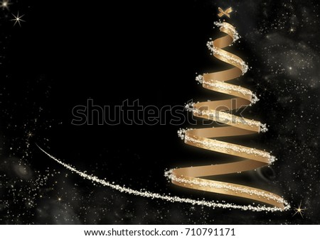 Luxurious Invisible Christmas Tree with Golden Ribbon, little bow  spark stars and glows on Black Background with copy space #710791171