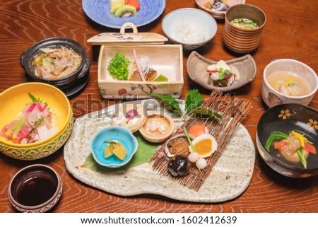 Luxurious Japanese traditional cuisine, kaiseki cuisine