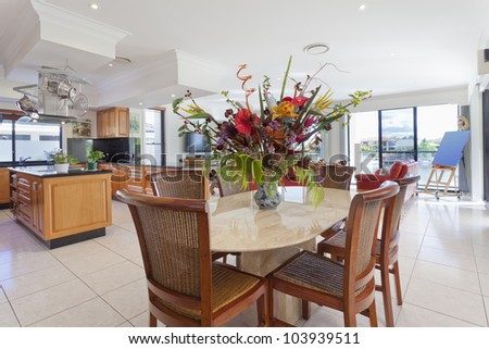 Luxurious kitchen and dining area in mansion