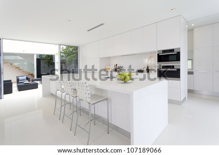 Luxurious kitchen with stainless steel appliances in Australian mansion #107189066