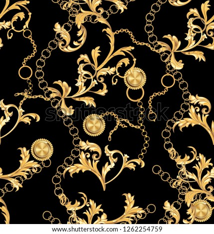 Luxurious linear print with fashion accessories. Seamless vector pattern