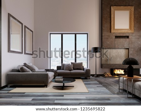 Luxurious living room in a loft design, with a high ceiling and a large corner sofa near the panoramic window. Large concrete fireplace with fire. Pictures of mockup on the wall. 3d rendering.