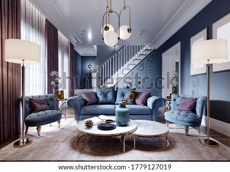 Luxurious living room in art deco style in a fashionable design, blue, brown, burgundy color. 3D rendering. Photo stock ©