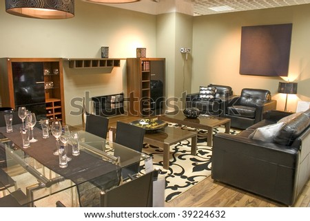 Oversized Living Room Furniture on Luxurious Living Room With Black Leather Sofa And Arm Chairs    Stock