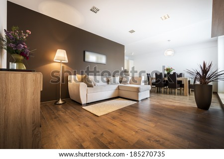 Luxurious living room with kitchen area #185270735