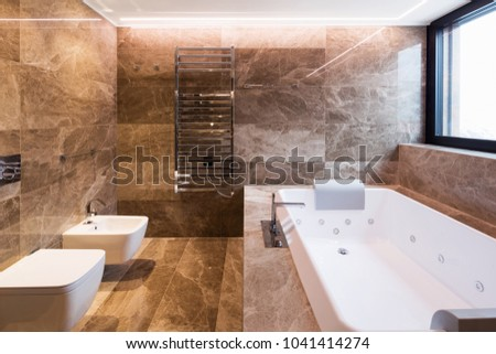 Luxurious marble bathroom with hydromassage for two people. Nobody inside #1041414274