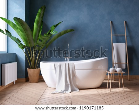 Luxurious Modern Bathroom interior design,white bathtub on grunge dark blue wall,3d render