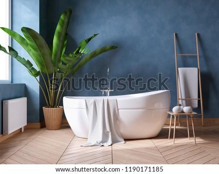 Luxurious Modern Bathroom interior design,white bathtub on grunge dark blue wall,3d render Stock photo ©