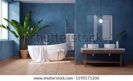 Luxurious Modern Bathroom interior design,white bathtub on grunge dark blue wall,3d render Photo stock ©