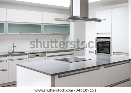Luxurious modern kitchen with stainless steel appliances
