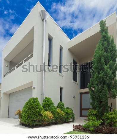 Luxurious modern multilevel house front