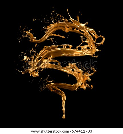 Luxurious, mysterious, vintage, abstract splash of liquid gold on a black background. 3d illustration, 3d rendering.