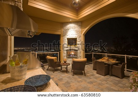 Luxurious Outdoor Patio with Barbecue